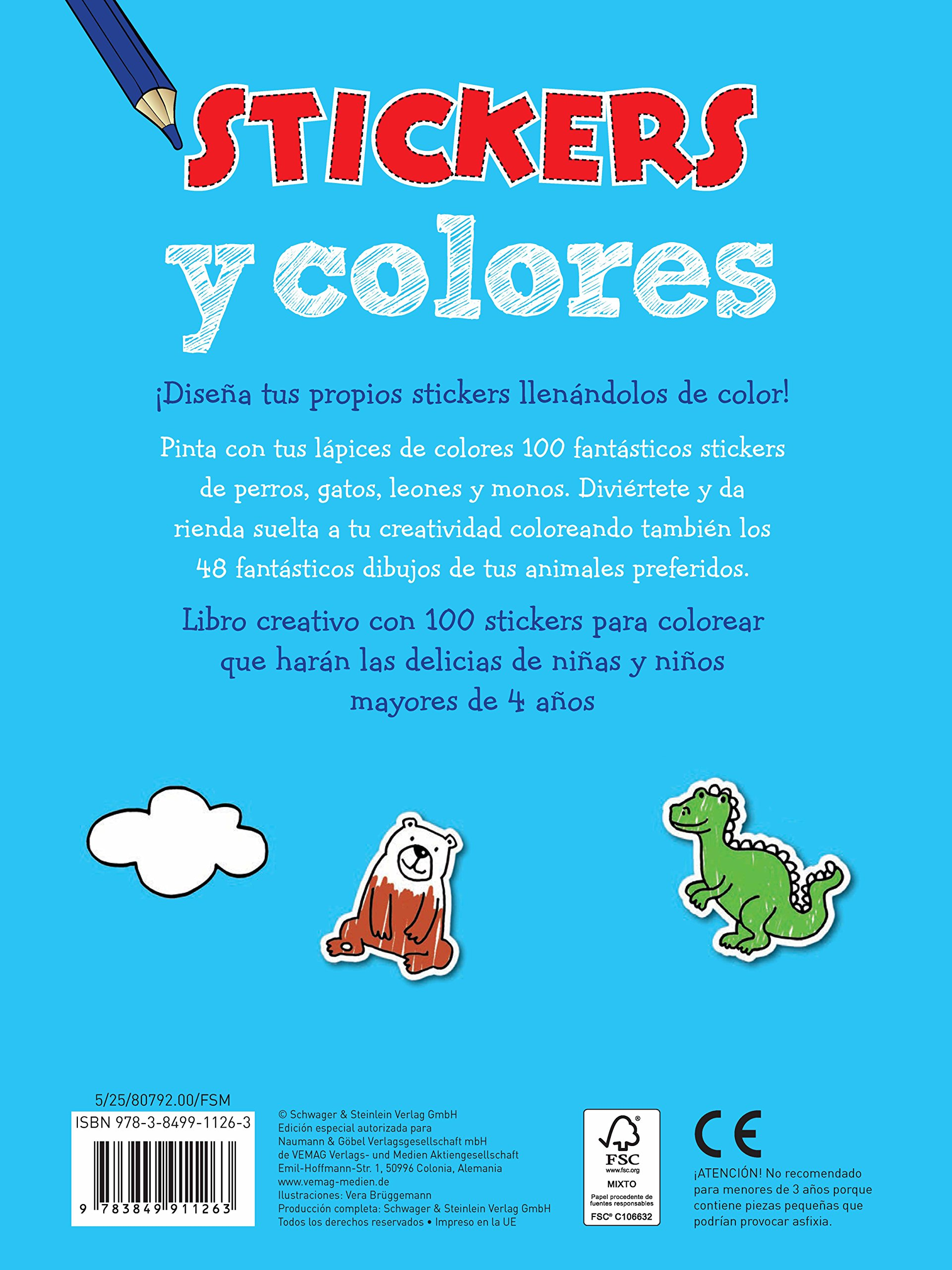 Animales: Con 100 stickers para colorear: 9783849911263: Amazon.com: Books