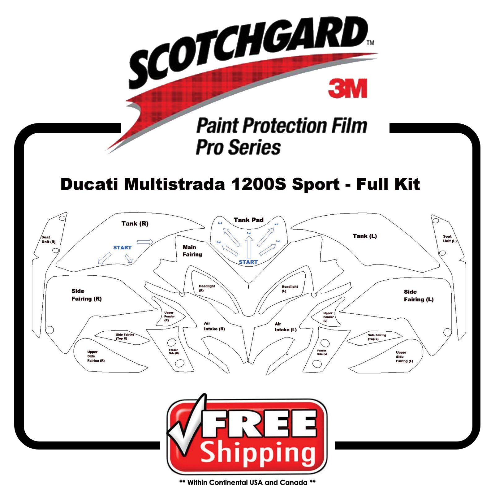 Kits for Ducati Multisrada 1200s Sport - 3M 948 PRO SERIES- Paint Protection