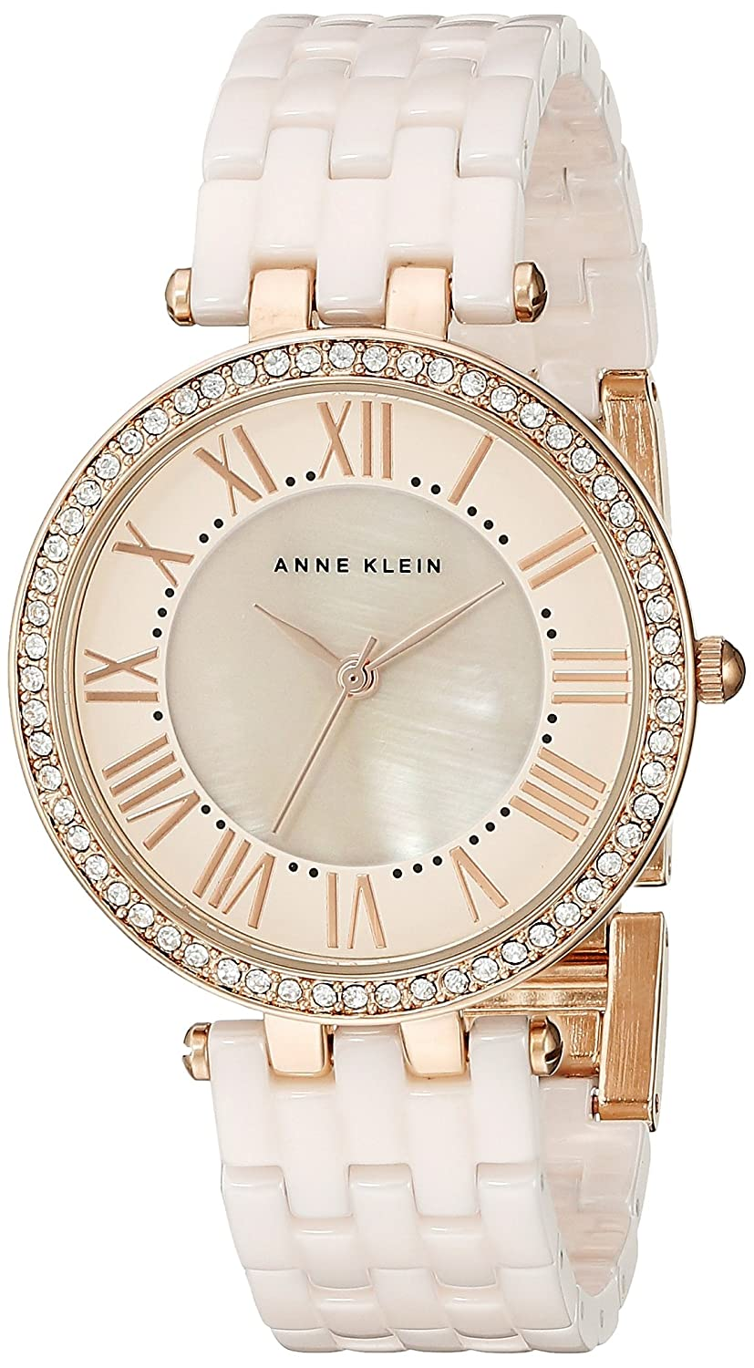 Anne Klein Women s AK 2130RGLP Swarovski Crystal-Accented Rose Gold-Tone and Light Pink Ceramic Bracelet Watch