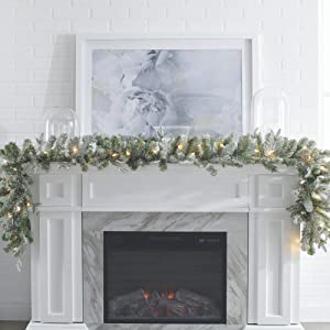 NOMA Pre-lit 9-Ft LED Flocked Glitter Fir Christmas Garland with Battery Operated Lights | 35 Warm White Bulbs | 290 Fir Tips