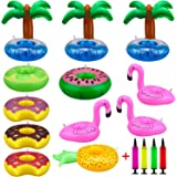 KeNeer Inflatable Cup Holder, Swimming Drink Holder Floating Coasters Toy for Pool Party, Kids Bath, Swimming, Birthday Parties and Lots More Water Activities (12pcs cup holder + 1pc Inflatable)