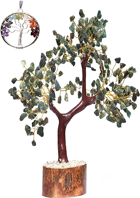 On wooden base Large Green Aventurine Crystal Bonsai Gemstone Tree