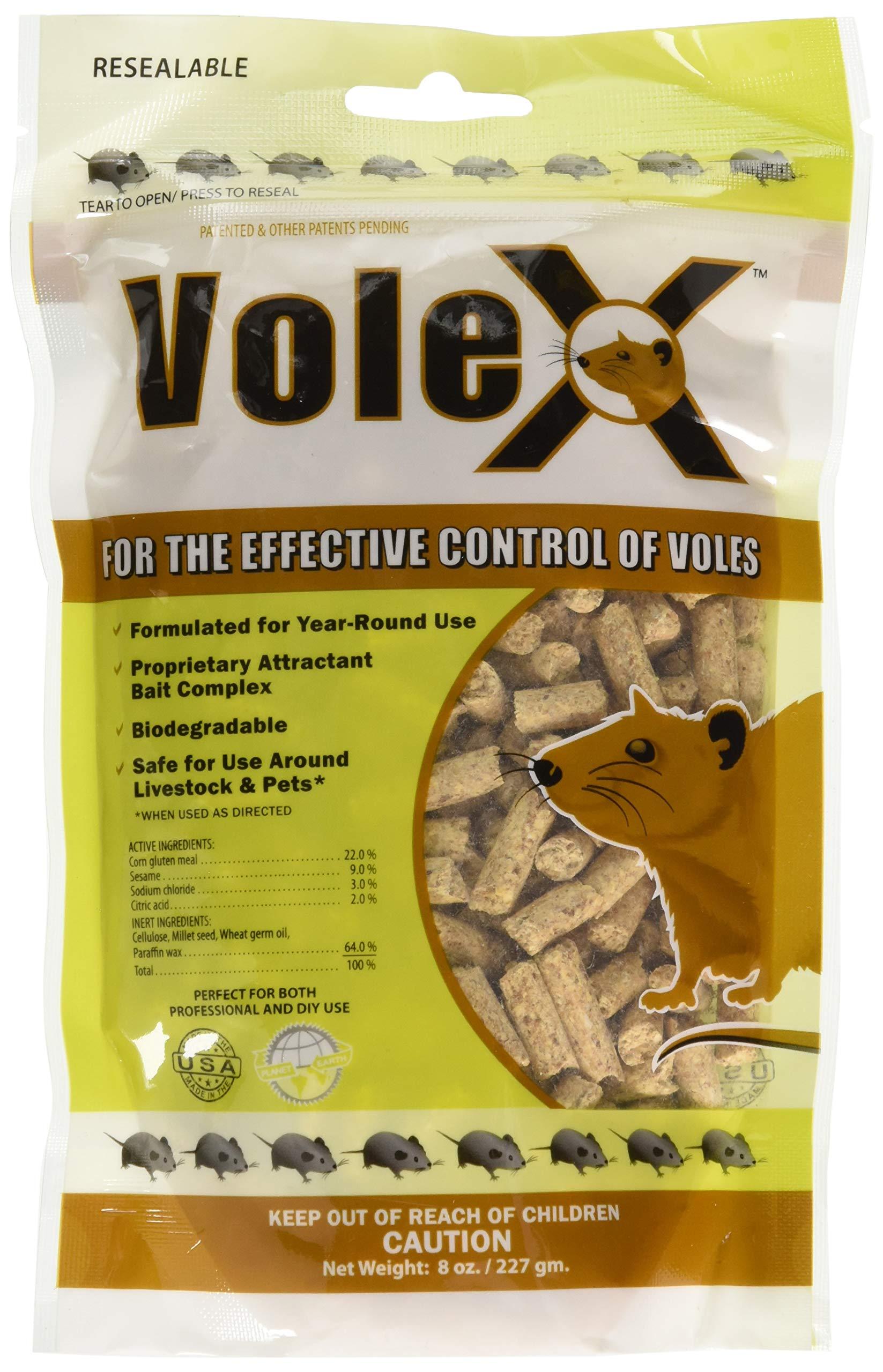 RatX EcoClear Products 620205, VoleX All-Natural Non-Toxic Humane Pellets, 8 oz. Bag Vole Killer by RatX