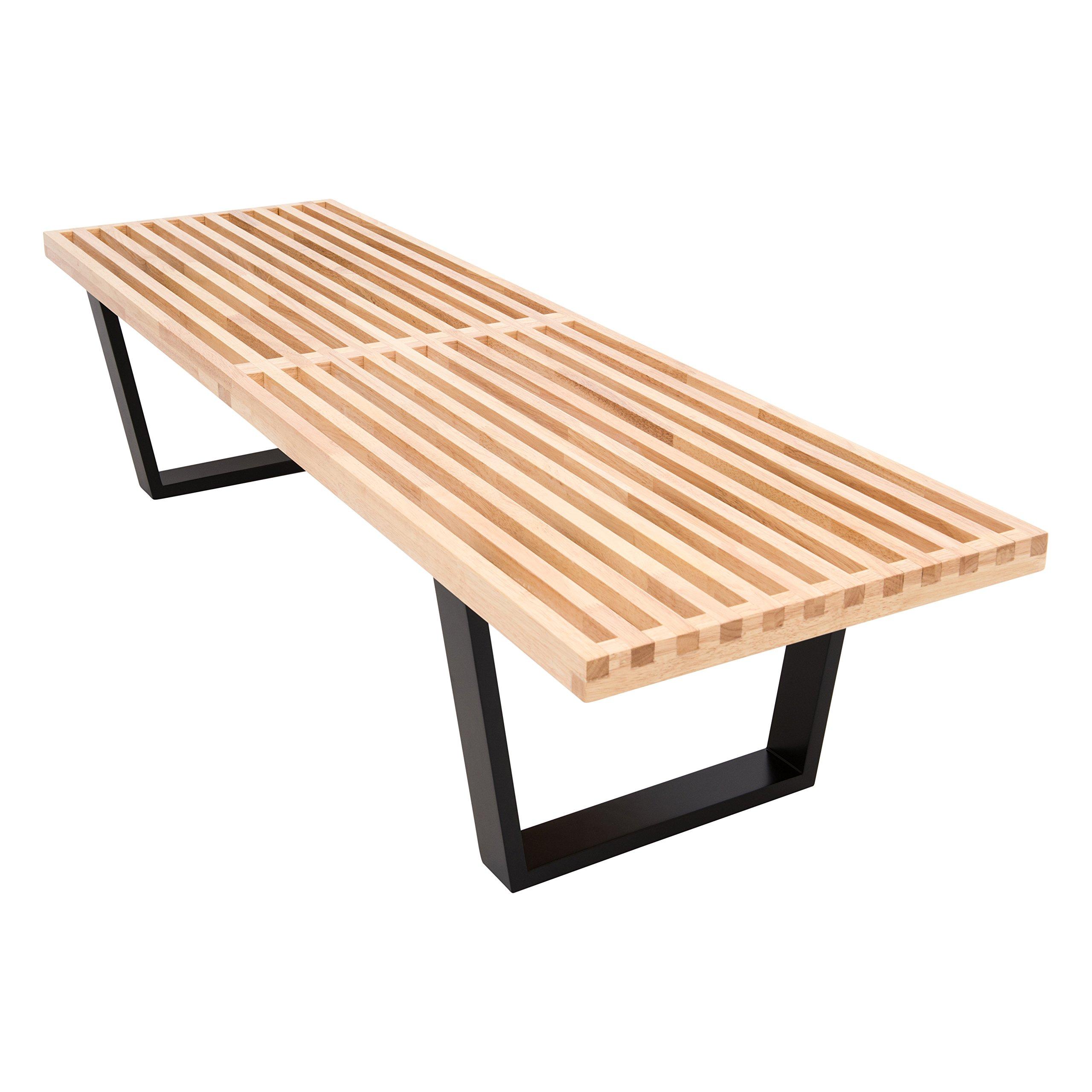 LeisureMod Mid-Century Lynwood Platform Bench in 5 Feet (Natural Wood)