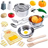 JOYIN Kitchen Pretend Play Toys with Stainless Steel Cookware (Pots and Pans) Utensils and Grocery Toy for Kids Boys and Girls Toddler Interactive Learning and School Classroom Prize.