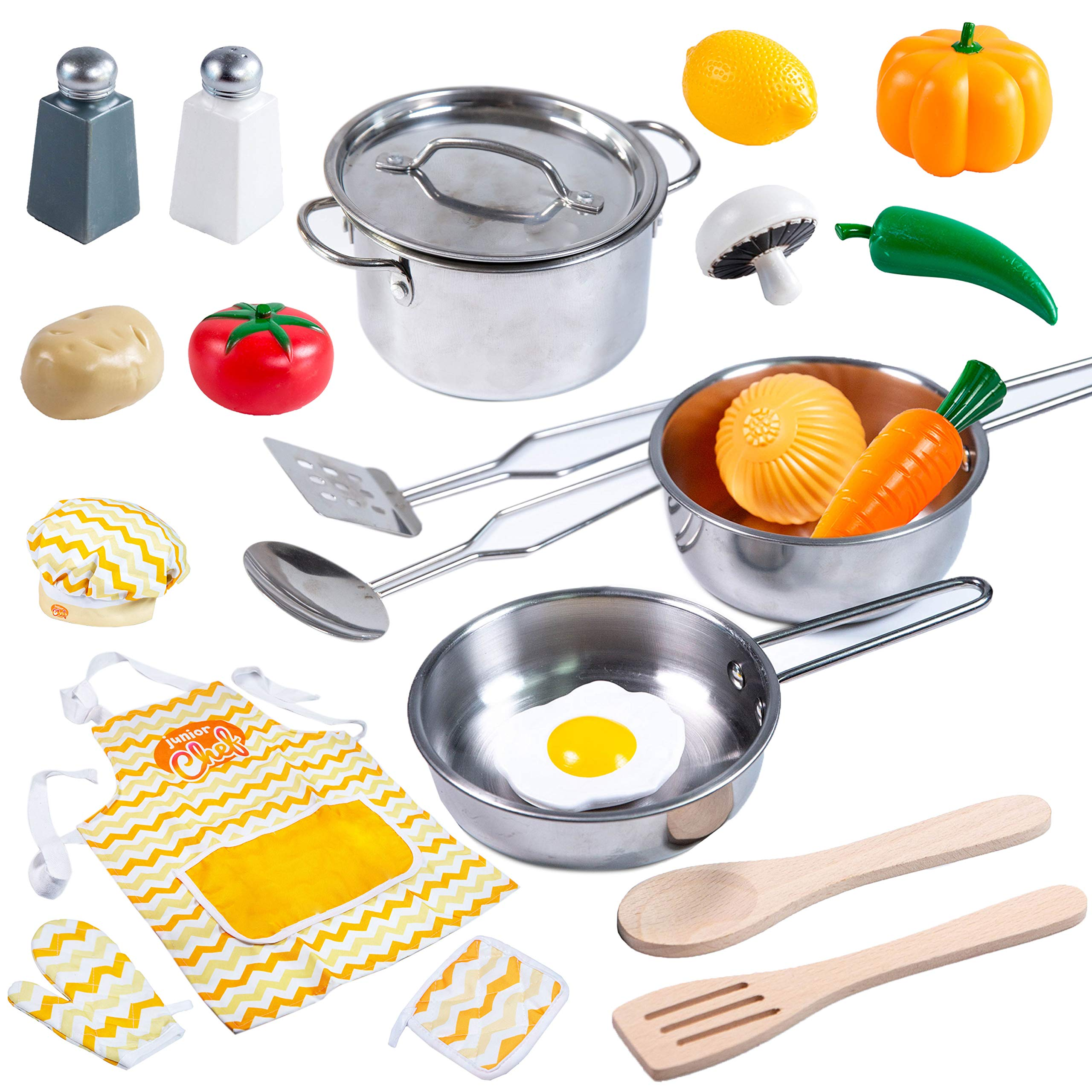 Kitchen Pretend Play Accessories Toys with Stainless Steel Cookware Pots and Pans Set, Cooking Utensils, Apron & Chef Hat, and Grocery Play Food for Kids Boys, Toddler and Girls Gifts Learning Tool. by JOYIN