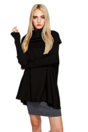 Women's Turtleneck Knit Long Sleeve Oversized Loose Pullover ...