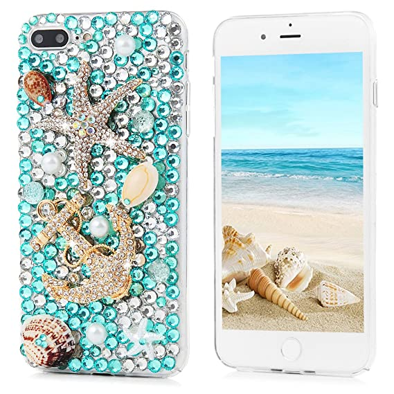 725c2f9e209 iPhone 7 Plus Case 5.5 Inch - Mavis s Diary 3D Handmade Blue Ocean Series  Full Diamonds