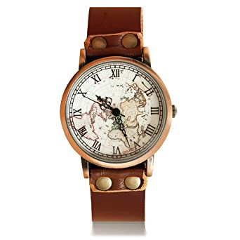 Brown Leather Watch World Map Watches Vintage Map Watch Christmas Gift