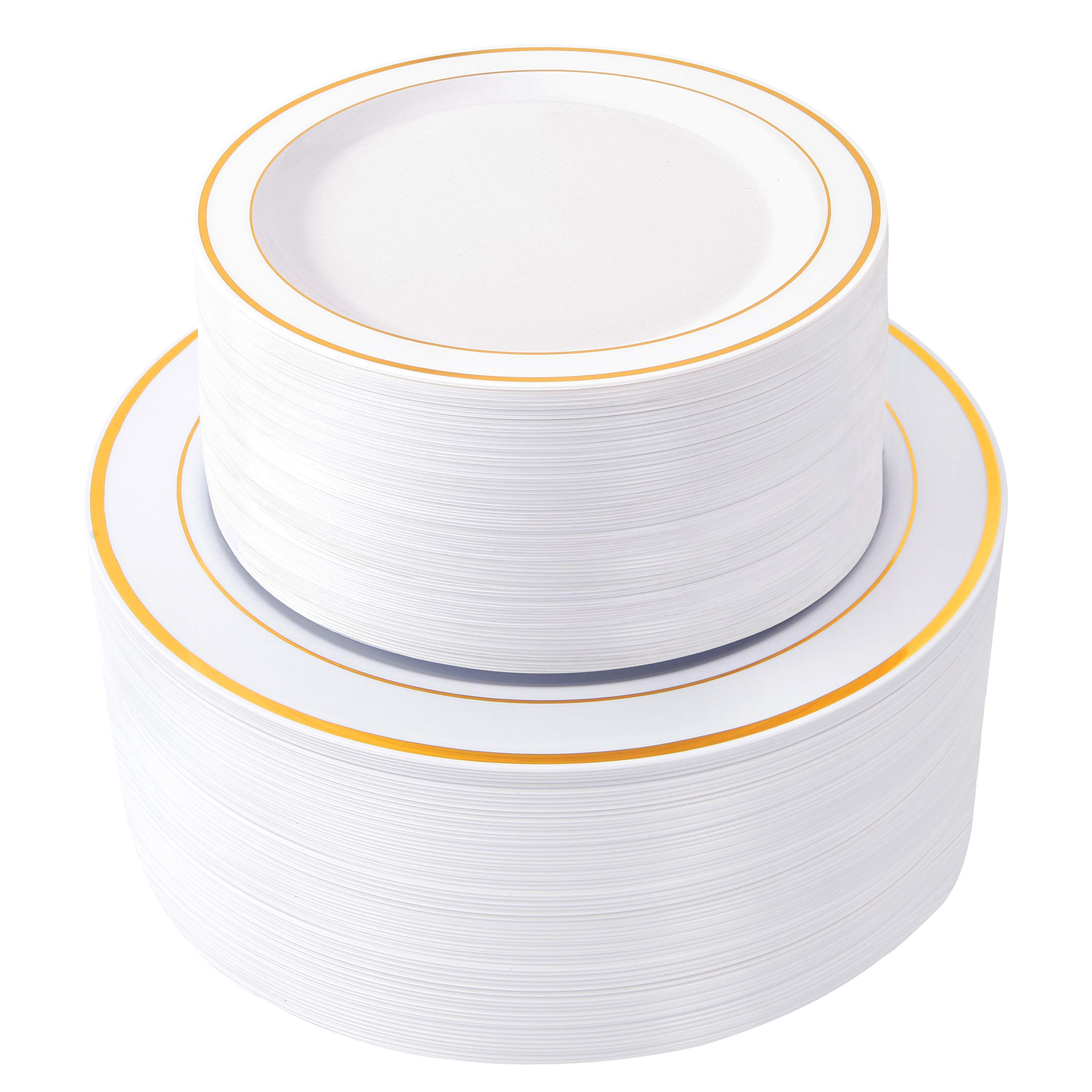 WDF 120 pieces Gold Disposable Plastic Plates- Gold Rim Wedding Party Plates,Premium Heavy Duty 60-10.25'' Dinner Plates and 60-7.5'' Salad Plates Combo (Gold Plates) by WDF