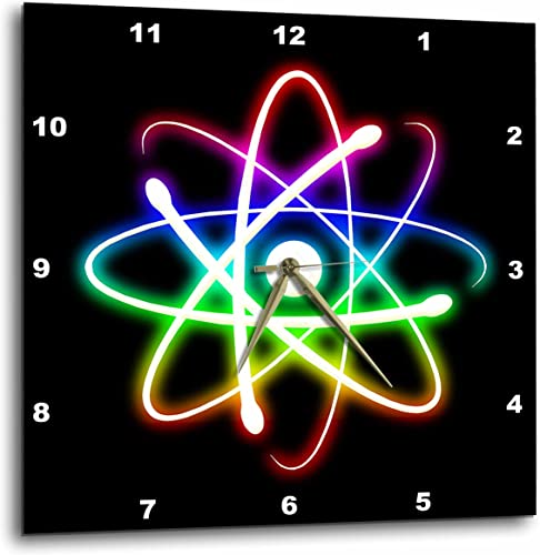 3dRose dpp_24256_3 Atom Symbol Glowing on Black Background-Wall Clock, 15 by 15-Inch