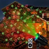 Christmas Laser Lights, Projector Lights Led Landscape Spotlight Red and Green Star Show with 360 accessibility Wireless Remo