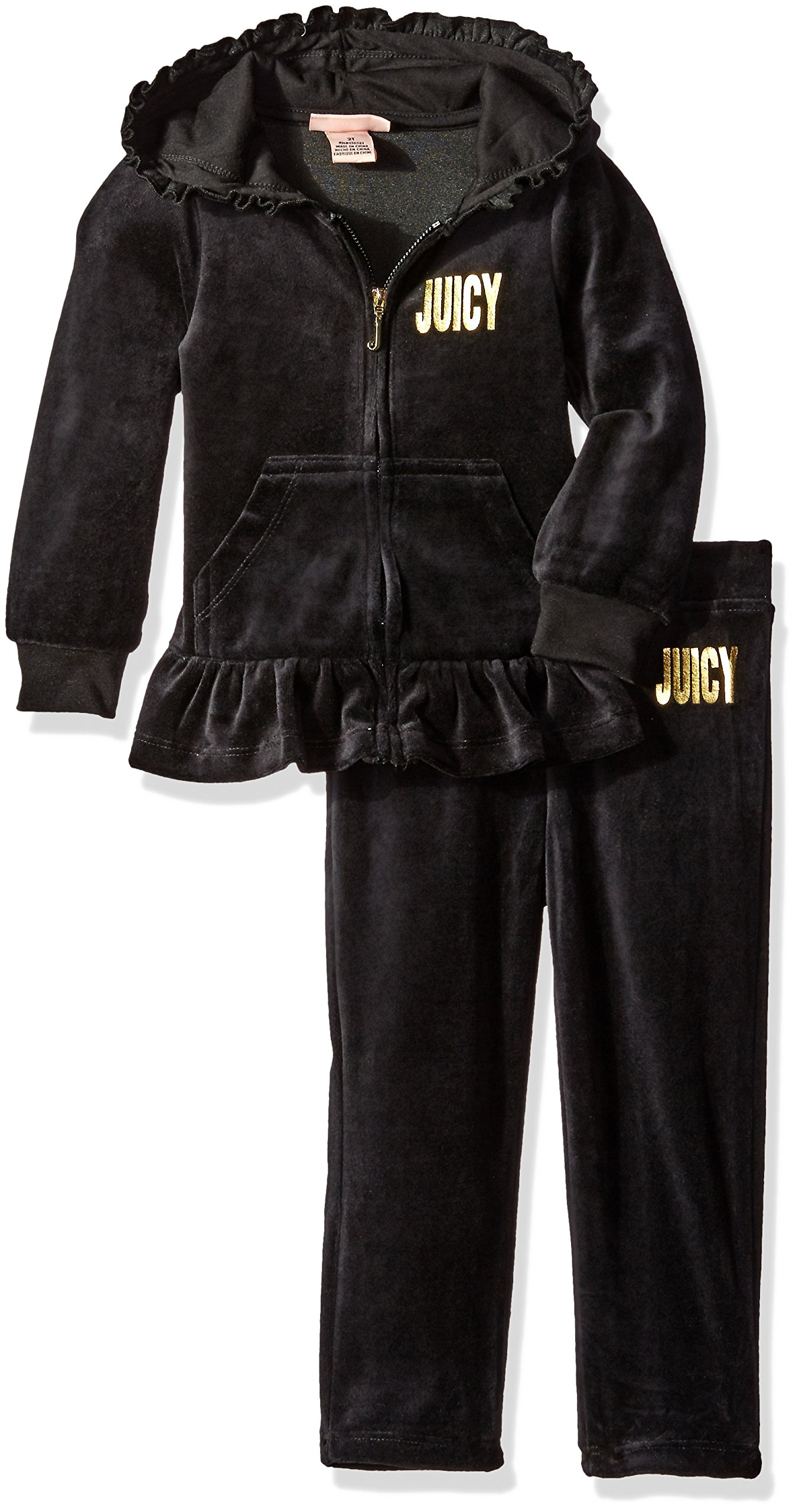Juicy Couture Little Girls' Toddler 2 Piece Velour Hooded Jacket and Pant Set, Black, 3T