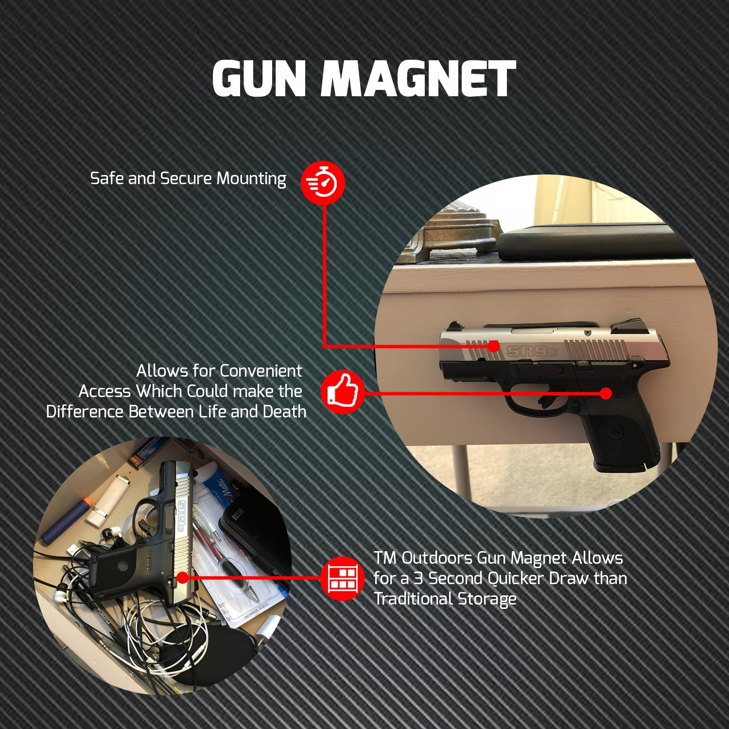 TM Outdoors Ultra-Powerful Ultra-Strong Hold Gun Magnet -Gun Accessory -Convenient and Sturdy Gun Storage  Organizer on Any Surface -Light to Heavy Gun Holder Up To 43 Pounds by TM Outdoors (Image #2)