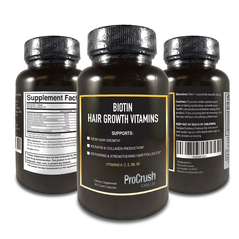 ProCrush Formulas Biotin Growth Support Vitamins- Grow Longer, Fuller, Thicker, Healthier Hair, Nails & Skin for both Men & Women