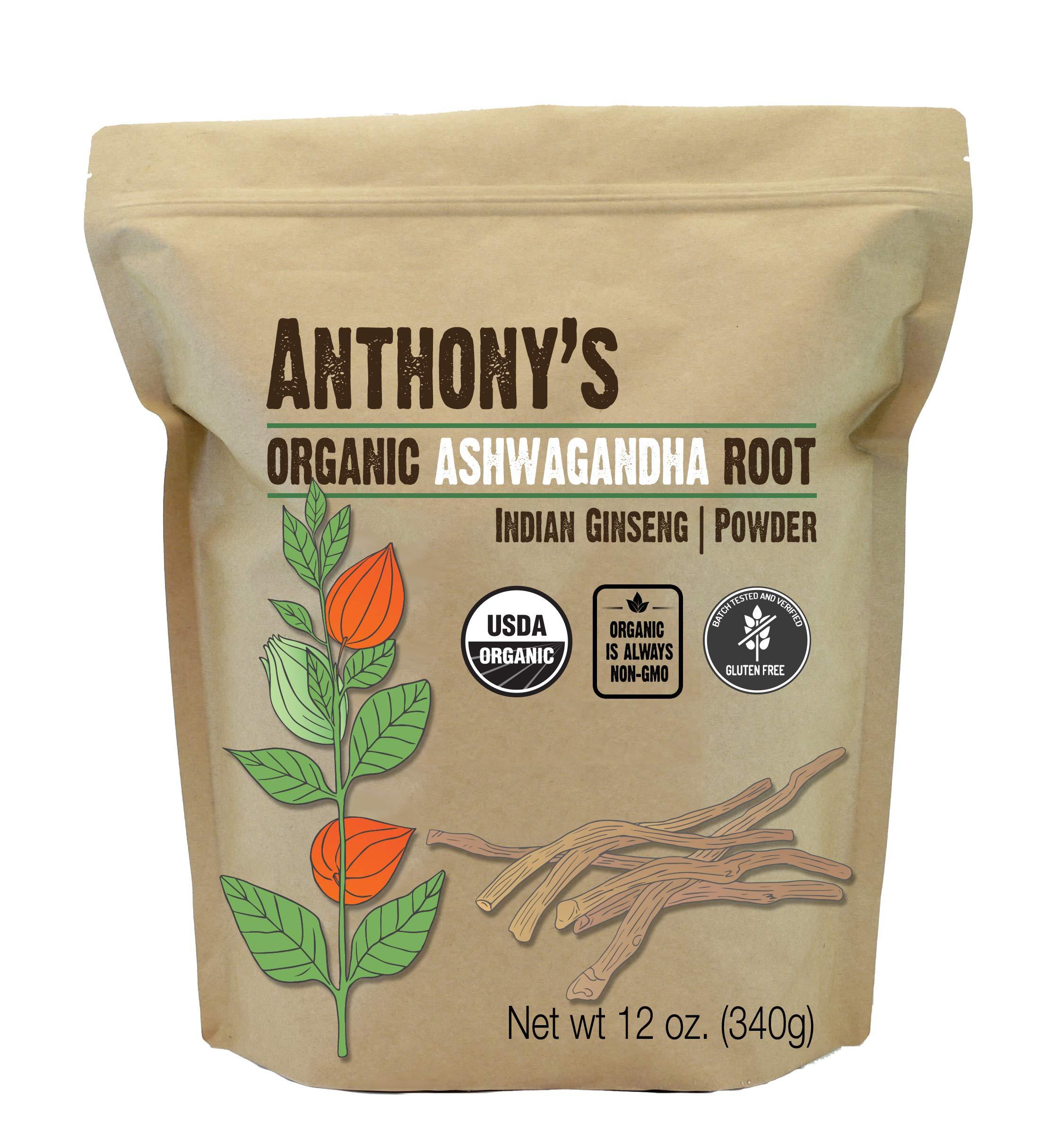 Anthony's Organic Ashwagandha Powder (12 oz) Batch Tested Gluten Free, Indian Ginseng, Non-GMO