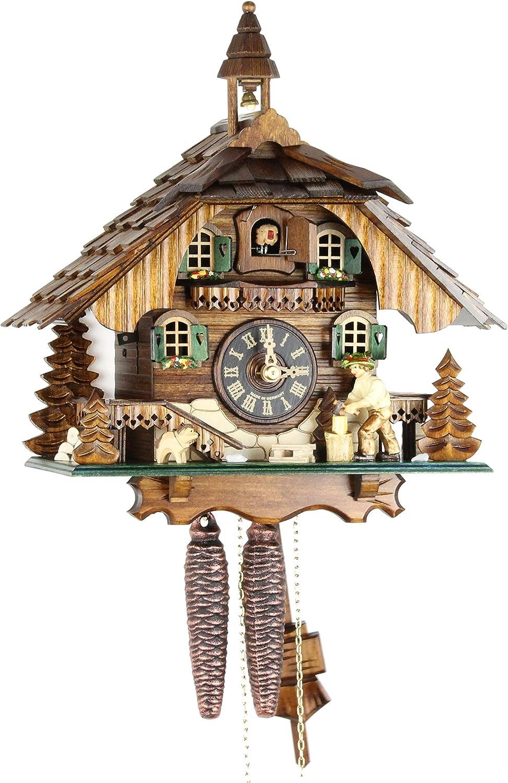 Reloj de cuco original de la Selva Negra, reloj de cuco de madera auténtica, unidad mecánica de 1 día, certificado VDS, casa negra, 30 cm, 22310