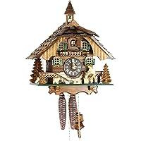 Original Negro bosques Cuco Reloj de madera auténtica