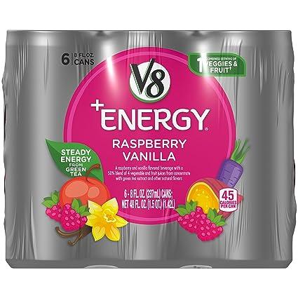 V8 + Energía, bebida de zumo con té verde, frambuesa ...