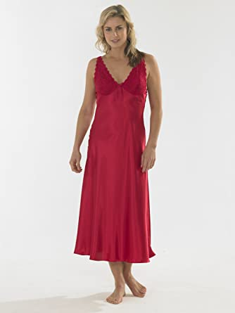 cf66d50abf Ladies Long Satin and Lace Strappy Nightdress Black Red or Mink Sizes 10-12  14-16 18-20 22-24 26-28 (14-16