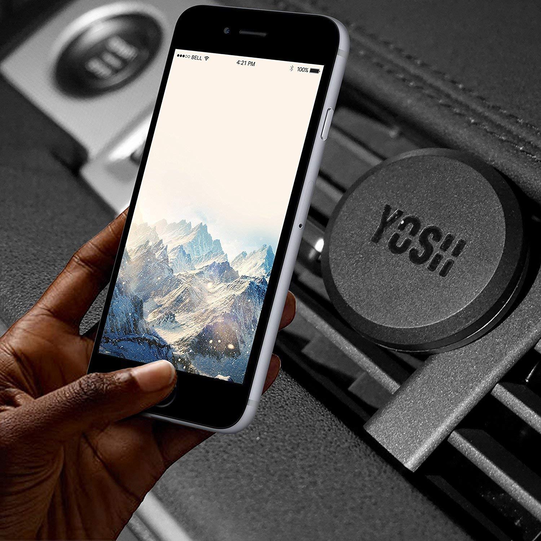 YOSH Soporte M/óvil Coche para Rejillas del Aire Negro 2 Unidades Soporte M/óvil Coche Magn/ético Universal para iPhone X 8 7 6s Samsung J5 J3 J7 S7 S8 S9 A5 Huawei P20 P10 Lite y Otros M/óviles