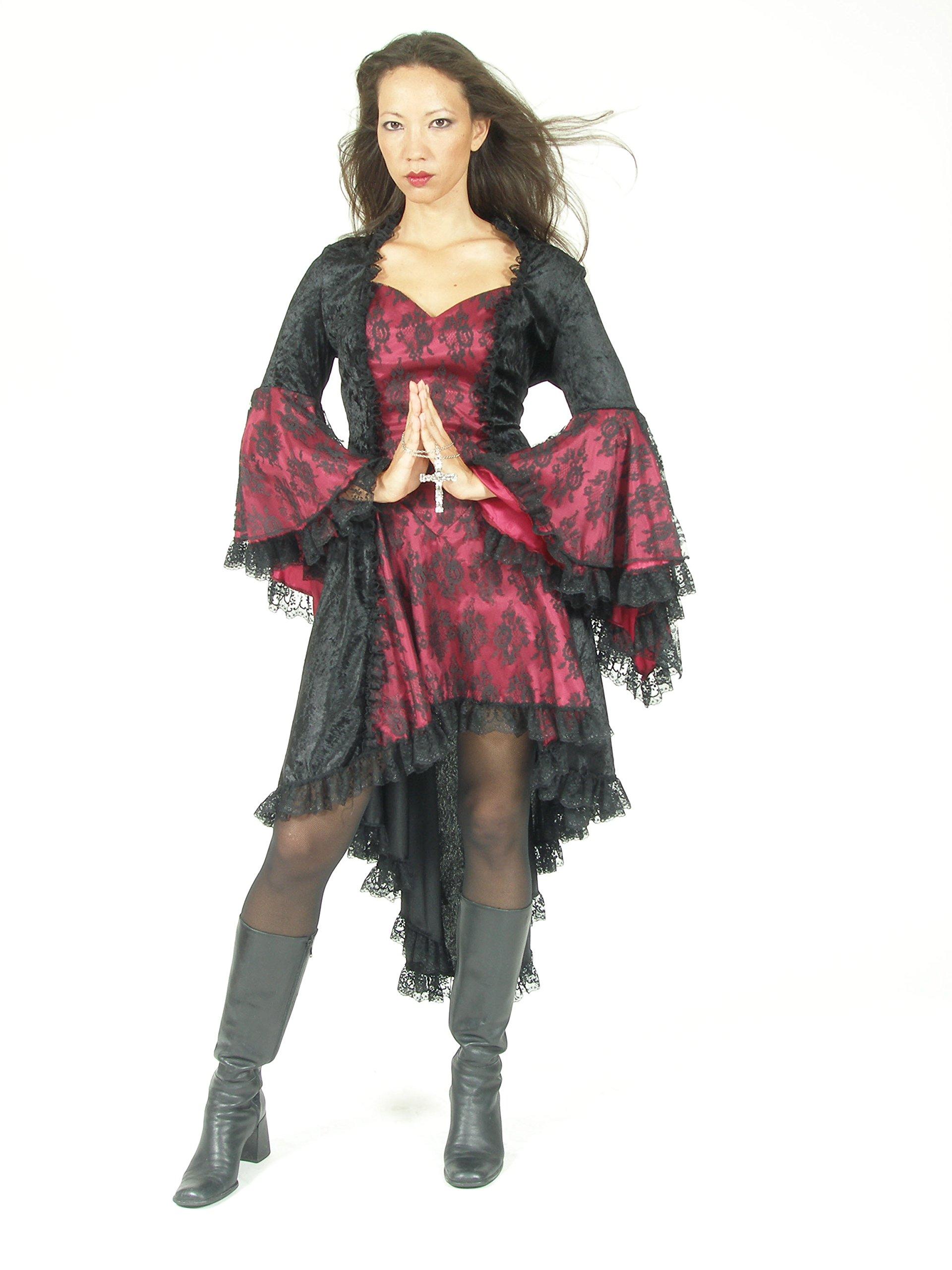 Eternal Love Plus Size Black Burgundy Wine Gothic Gwendolyn Dress Taffeta Lace (2X) by Eternal Love