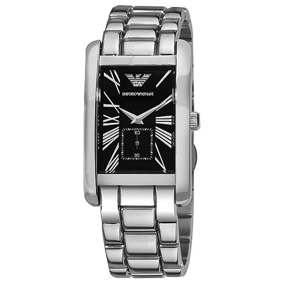 Emporio Armani AR 0156 - Reloj analógico de cuarzo para hombre con correa de acero inoxidable, color plateado: Emporio Armani: Amazon.es: Relojes