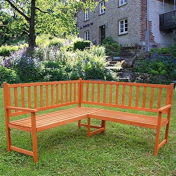 La madera Eckbank Gartenbank Holzbank banqueta banco de jardín Parkbank Sitzgarnitur: Amazon.es: Jardín