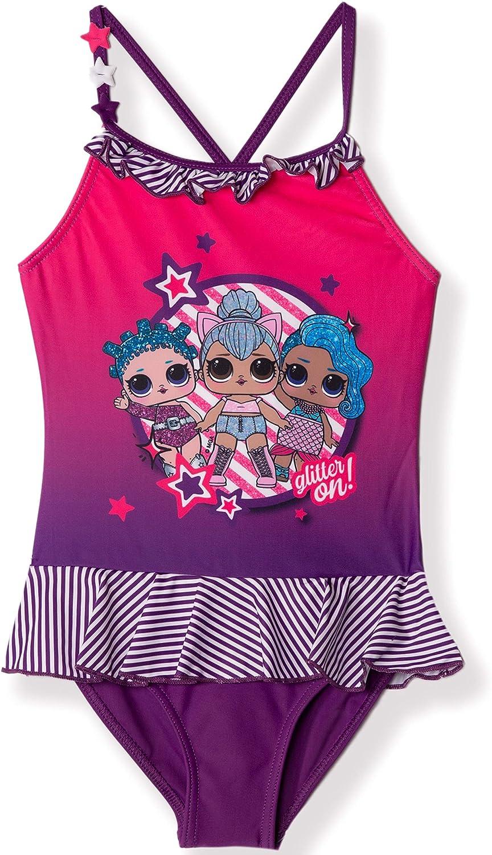 LOL Surprise LOL Characters Original M/ädchen Badeanzug Einteiler Bademode Badeanzug mit Rock 4-10 Jahre