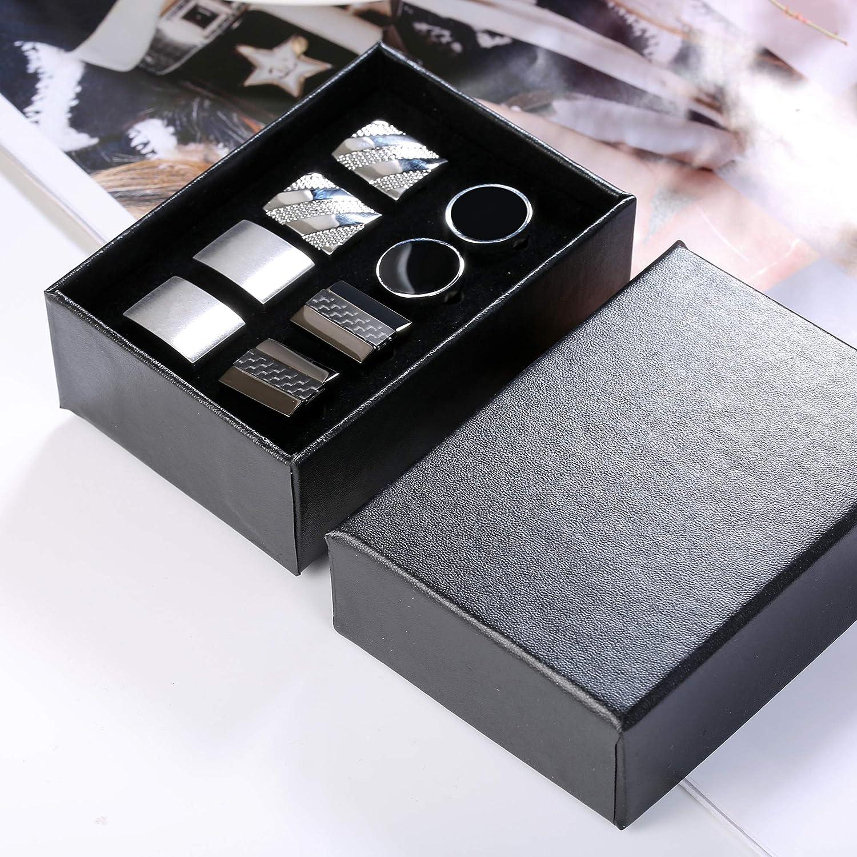 Hanpabum 4 Pairs Polished Finish Stainless Steel Luxury Classic Tuxedo Shirt Cufflink for Men Wedding Business Classic Cufflink with Box