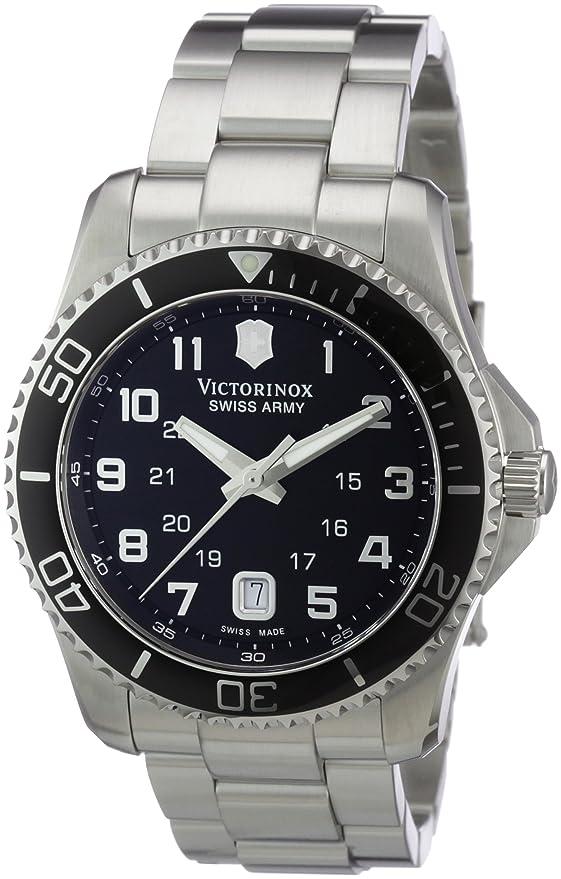 amazon com victorinox swiss army men s 241436 maverick stainless amazon com victorinox swiss army men s 241436 maverick stainless steel black dial watch victorinox watches