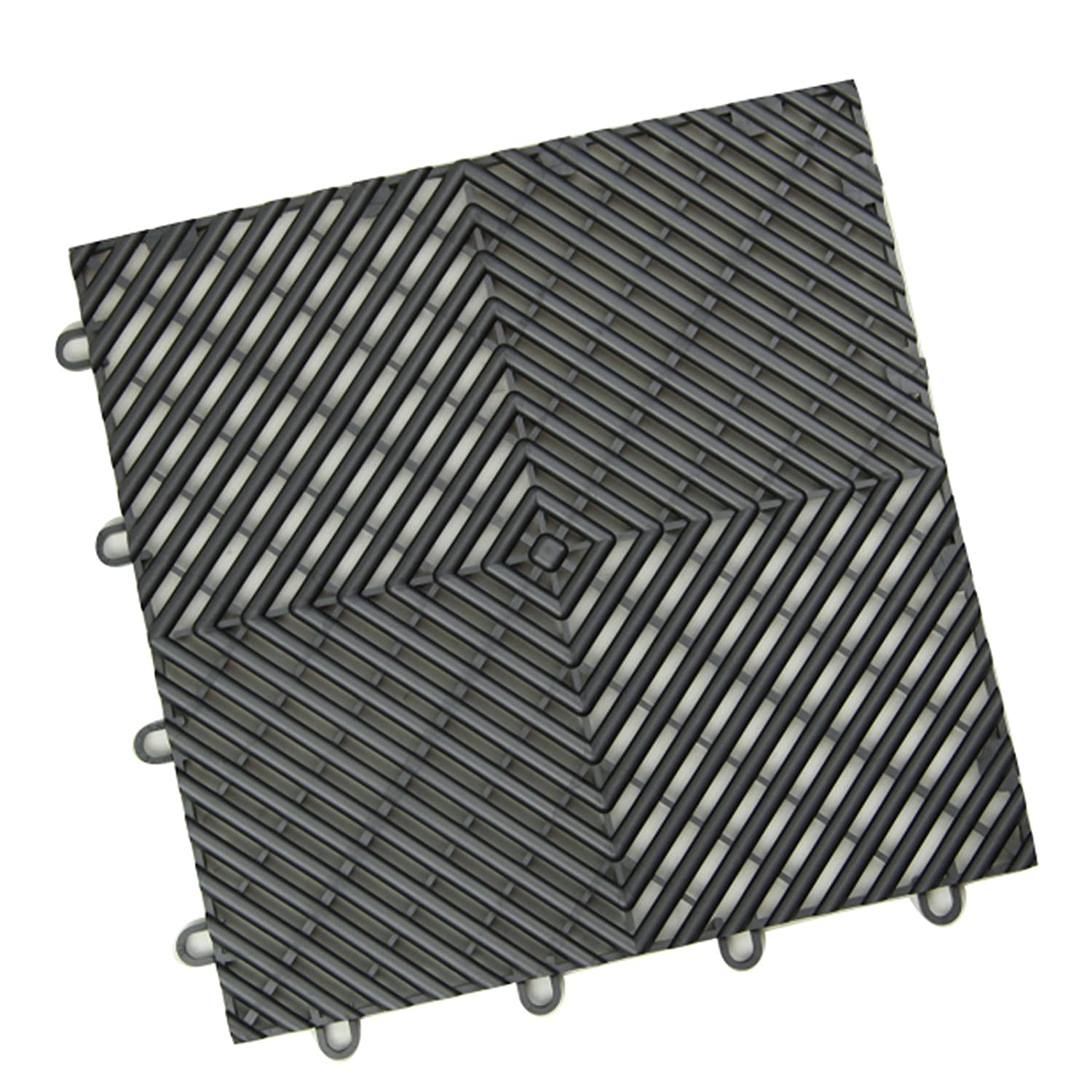 IncStores Vented Grid-Loc Garage Flooring Snap Together Mat Drainage Tiles