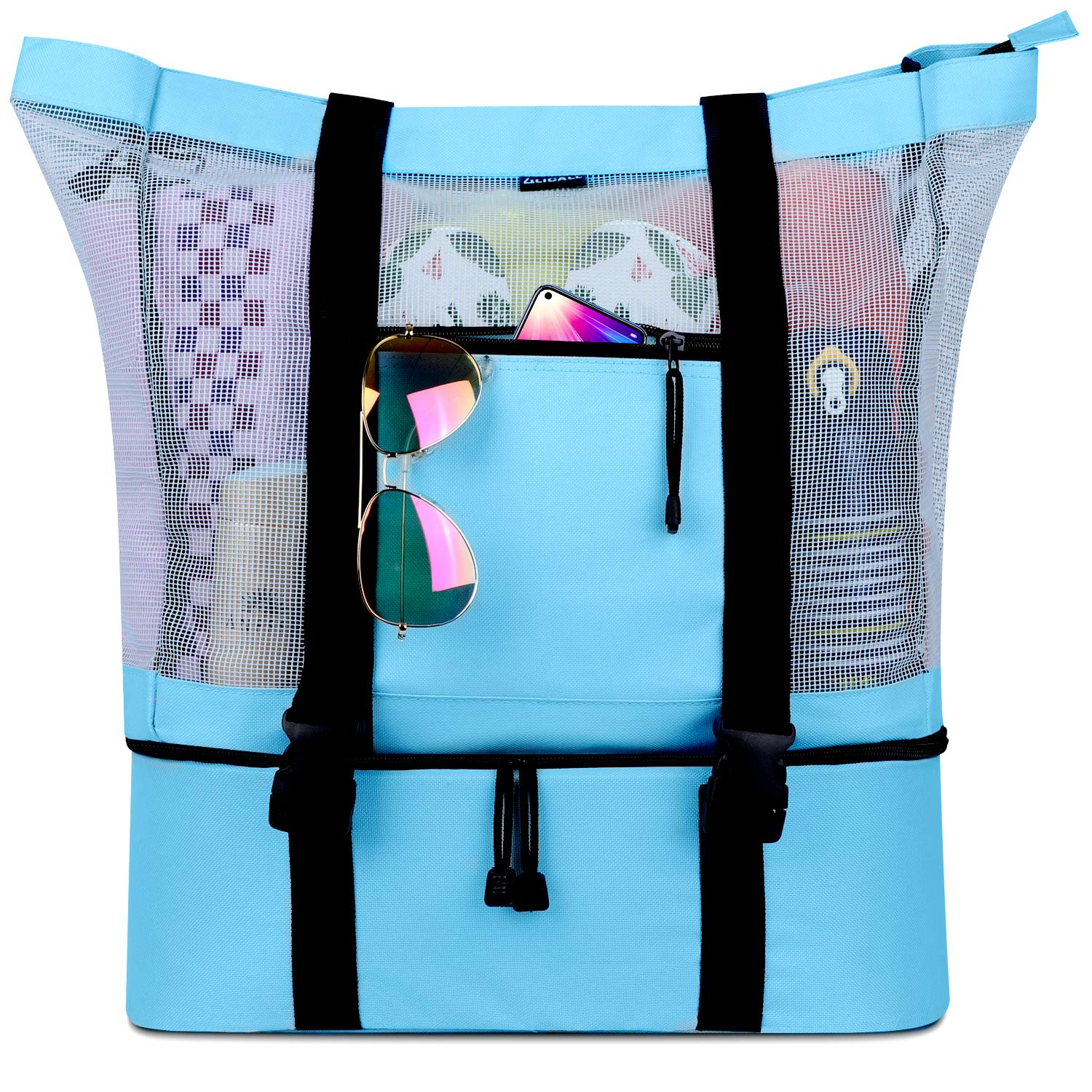 LILICALL Mesh Beach Tote Bag with Detachable Beach Cooler - MAX Capacity 34L 150lbs Ultra Durable for Women