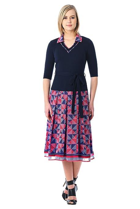 1920s Day Dresses, Tea Dresses, Mature Dresses with Sleeves eShakti Womens Graphic Dot Print Mixed Media Dress $64.95 AT vintagedancer.com