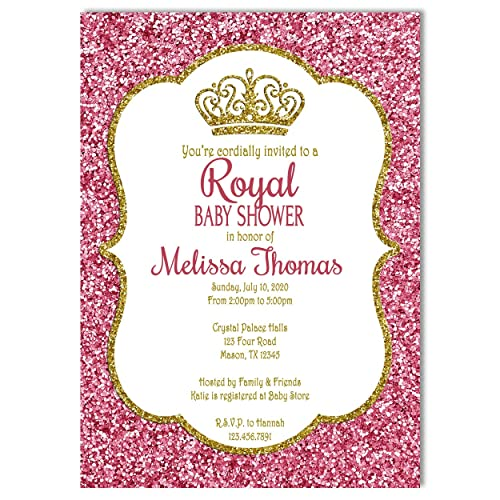 Pink  gold 2 Princess Prince Crowns Tiaras confetti die cuts birthday party baby shower gender reveal diva wedding bridal invitations decor