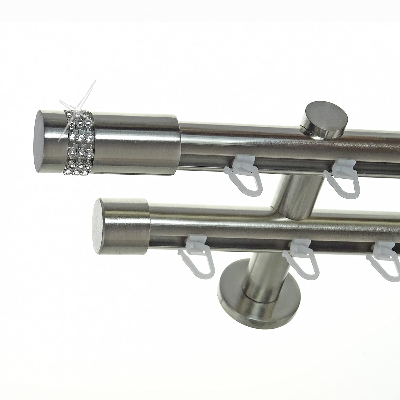 Innenlauf Gardinenstange Edelstahl Look 20mm Wandträger 2-läufig Zylinder Kristall, Länge wählbar H40 E38E30, Länge 240 cm