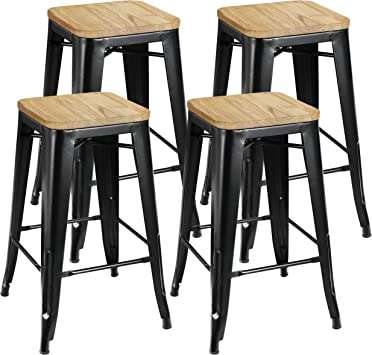 Amazon Com Zenstyle 26 4 Set Stackable Barstools Counter Height Metal Bar Stools Kitchen Island Chairs With Square Wood Top For Indoor Outdoor Furniture Decor