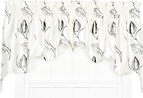 Ellis Curtain Astonish 2-Piece Embroidered Leaf Lined Duchess Valance, 100 by 30-Inch, Onyx