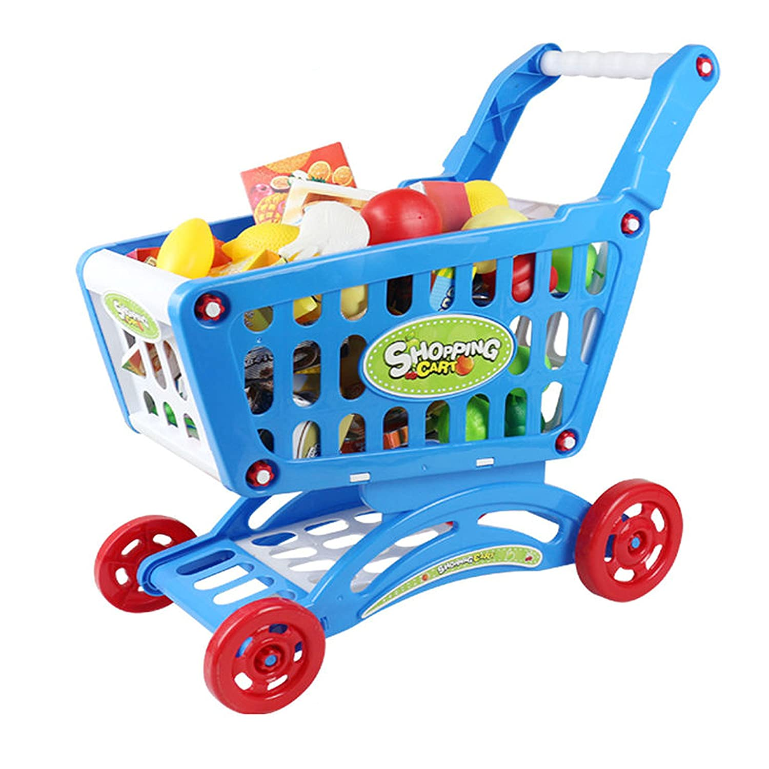 Great Christmas XMAS \ Birthday Gift New Blue Delex/® Children Shopping Cart Trolley PlaySet Includes 52 Grocery Shop Accessories