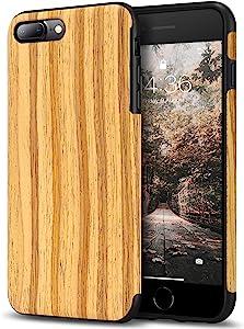 Tasikar Compatible with iPhone 7 Plus Case/iPhone 8 Plus Case Easy Grip Wood Grain Design Compatible with iPhone 7 Plus/iPhone 8 Plus (Teak)