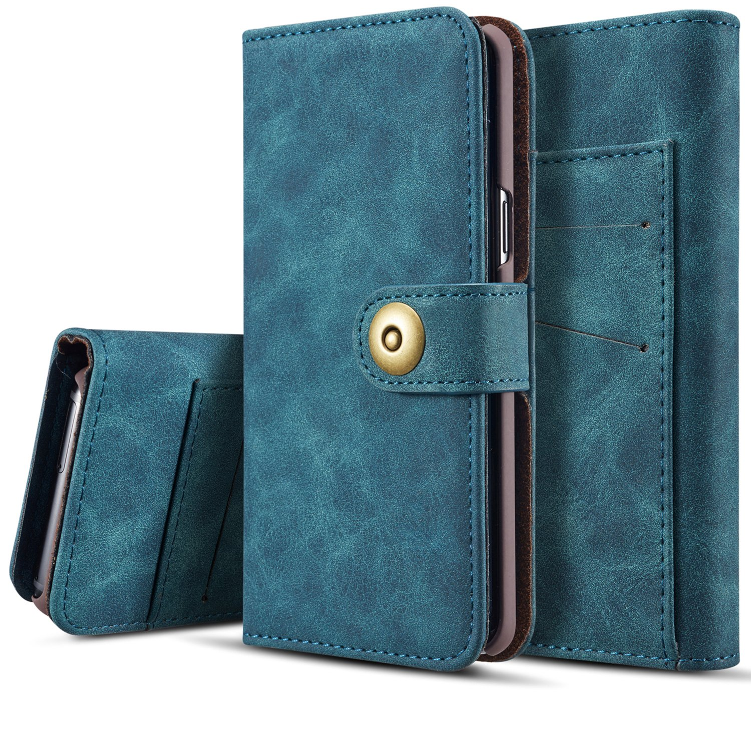 Galaxy Note 8 Detachable Wallet Case with Magnetic Slim Cover, SAVYOU Flip PU Leather Wallet Card Slots Holder with Magnetic Buckle for Samsung Galaxy Note 8 (Blue)