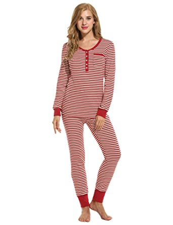 6568ad7f88 Ekouaer Women痴 Cotton Fitted Striped Long Sleeve Henley Two-Piece Pajama Set  (Red