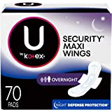 U by Kotex Security Maxi Pads with Wings, Overnight, Unscented, 70 Count
