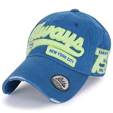 ililily 75  New York City  Logo Distressed Brim Adjustable Hat Baseball Cap  (ballcap 1088a6b73ae6