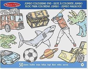 Melissa & Doug Kids' Jumbo Space, Sharks, Sports, and More 50-Page Colouring Pad