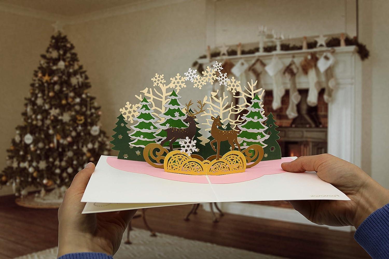 Familiäre Weihnachtsgrüße.Besinnliche Weihnachtskarte Mit Extra Seite Für Weihnachtsgrüße Einzige 3 Seitige Klappkarte Festliche 3d Pop Up Karte Mit Rentier Gut