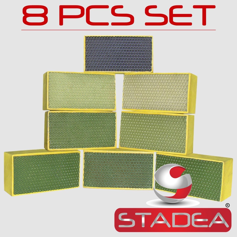 STADEA Diamond Hand Polishing Pads for Stone/Concrete - Set of 8 Pcs