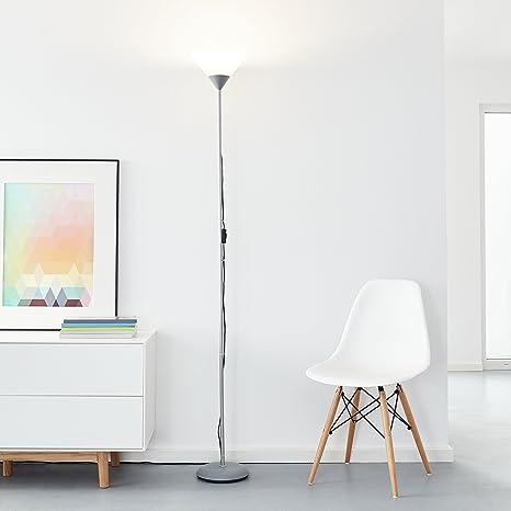 Clásica lámpara de pie LED, 1 x bombilla 10 W E27 LED incluida, 810 lúmenes, 2700 K, metal/plástico, plata/blanco