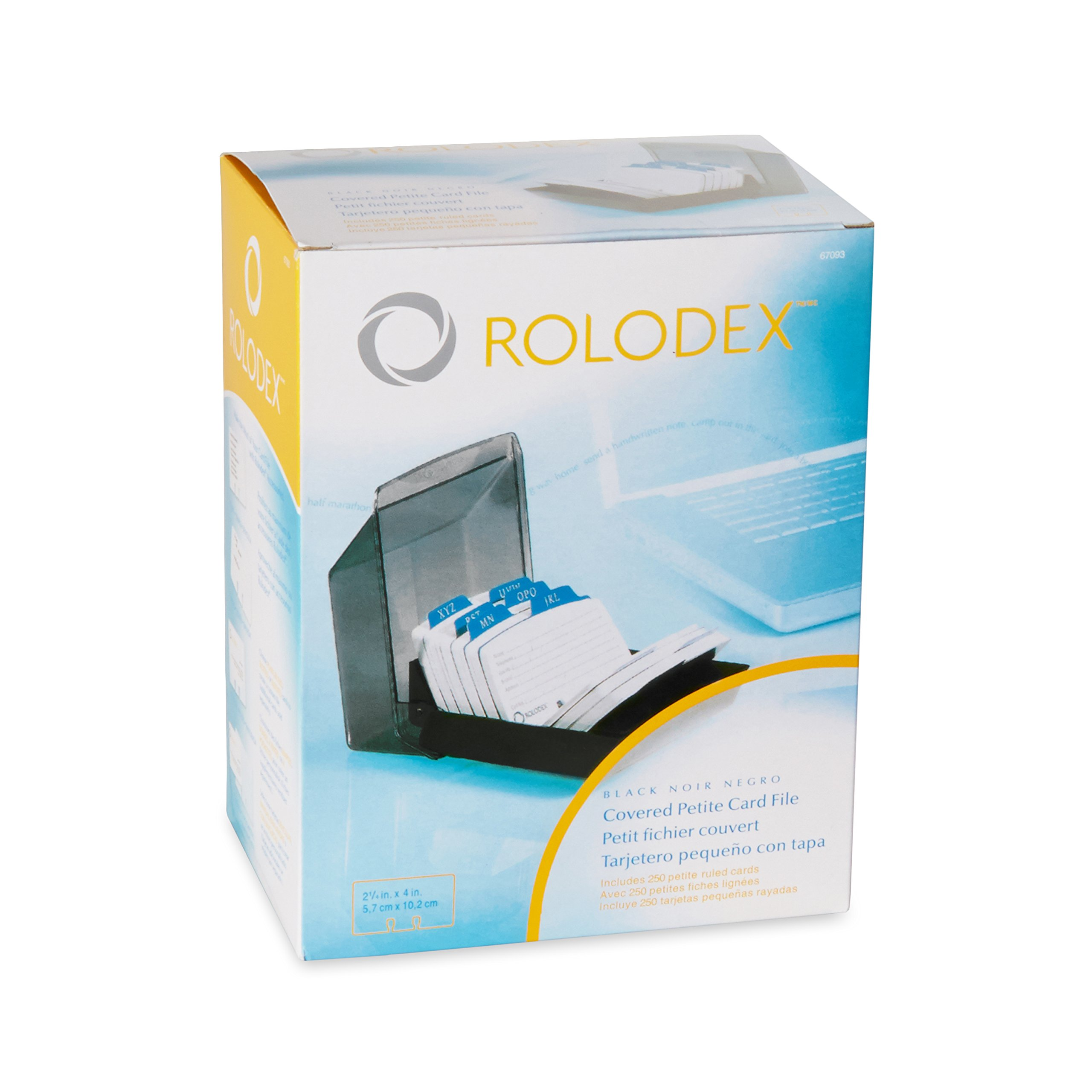 Rolodex Petite Covered Tray Card File with 2.25 x 4 Inch Cards and 9 Guides (67093)