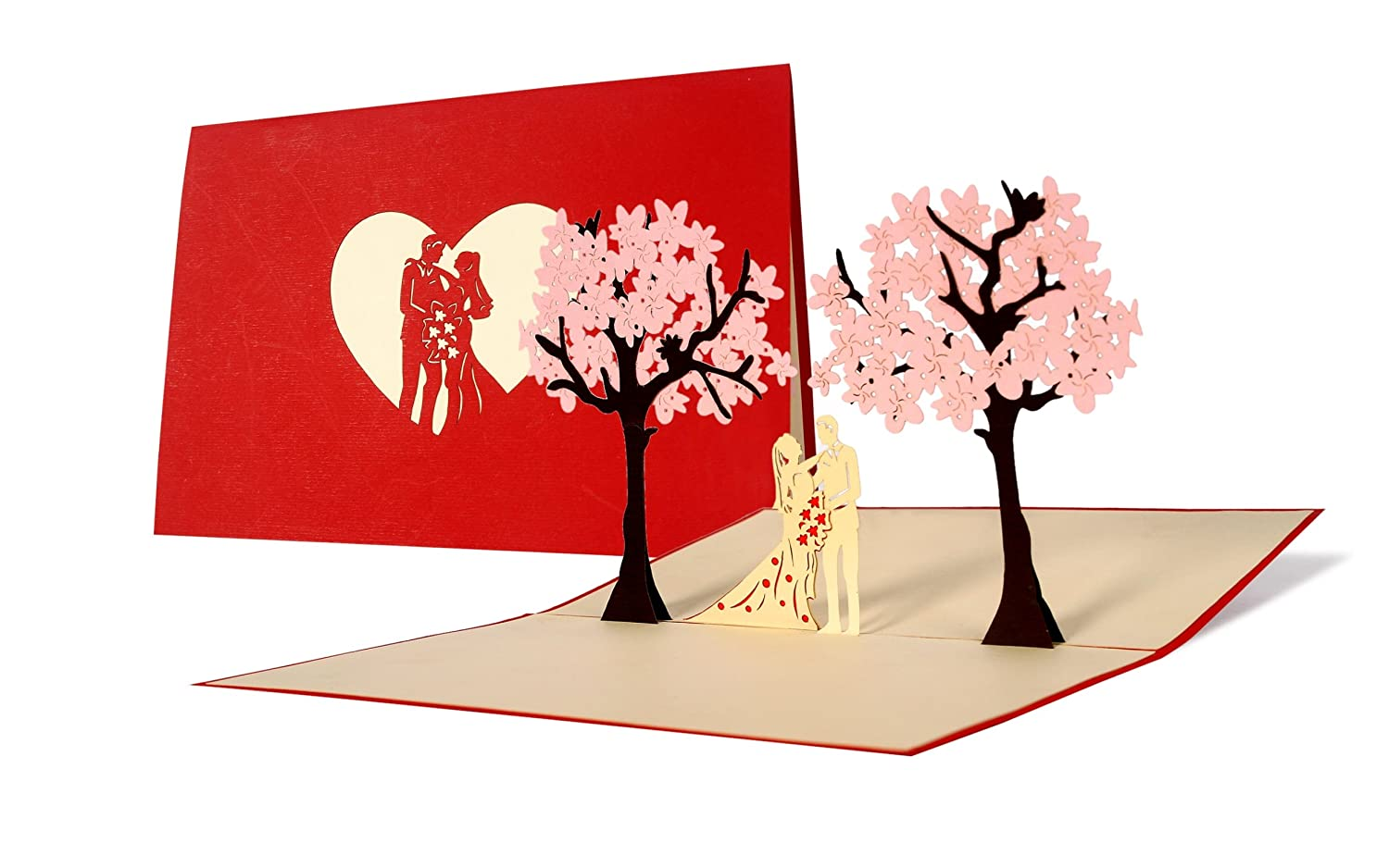 cherry blossom tree wedding card, unusual wedding pop up card with ...